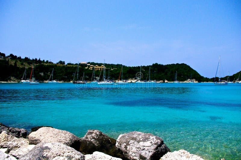 Paradise on Paxos, Greece. The bay of Lakka, on the island of Paxos, Greece is absolute paradise royalty free stock photo