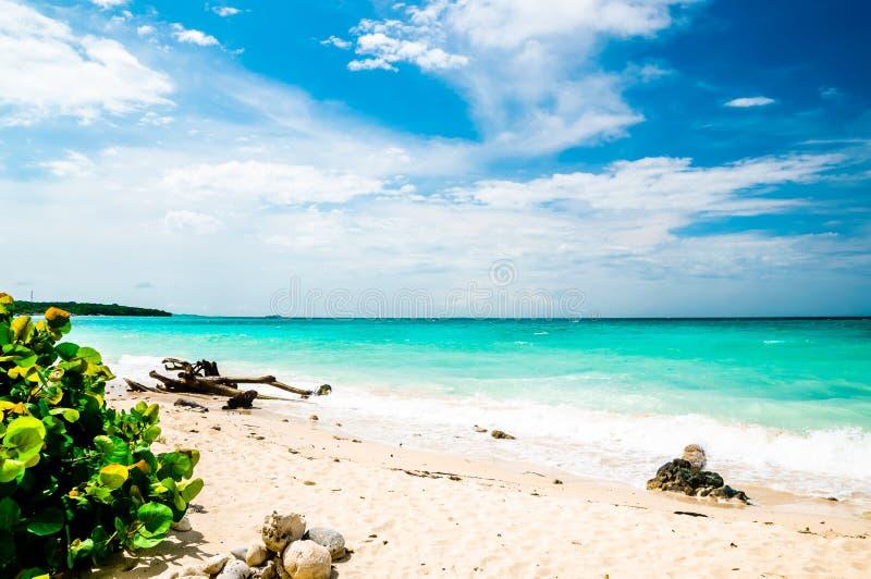 Paradise Playa Blanca beach of Baru island by Cartagena in Colombia. Paradise Playa Blanca beach of Baru bin Colombia royalty free stock image