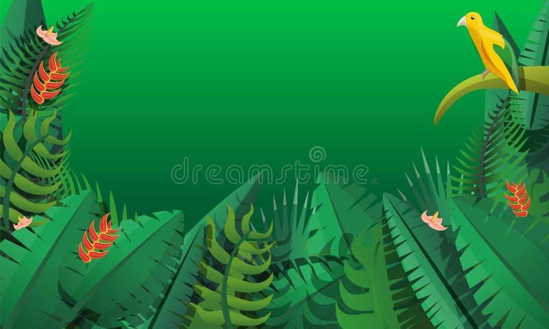 Paradise rainforest concept banner, cartoon style stock illustration