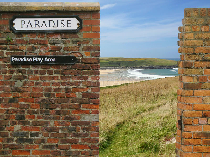 Download Paradise Sign On Old Brick Wall, Sea/ocean Beach Stock Image - Image: 12495579