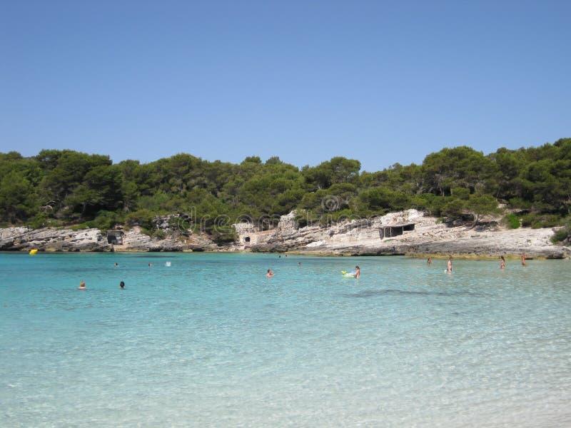 Paradise-strand met turkooise wateren en wit zand royalty-vrije stock foto