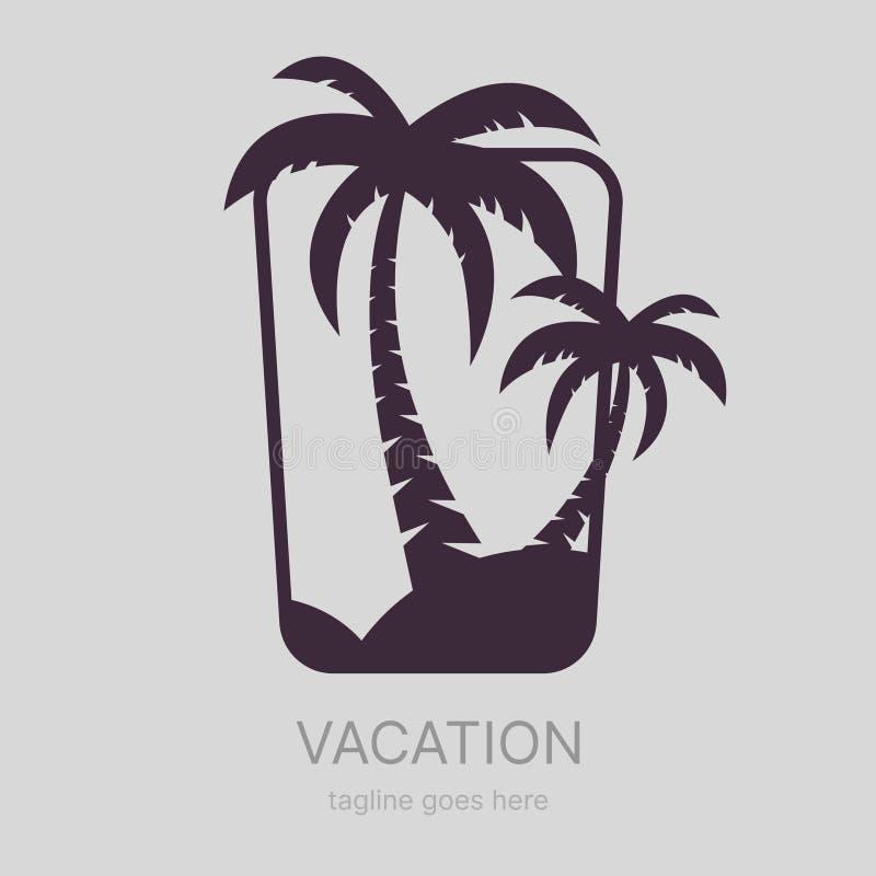 Paradise strandlogotyp, sommartema royaltyfri illustrationer