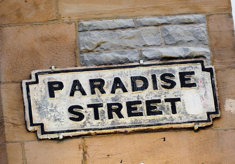 Paradise Street Street Sign Liverpool. Paradise Street Street Sign. Paradise street is at the heart of the bustling shopping centre of Liverpool. A major draw royalty free stock images