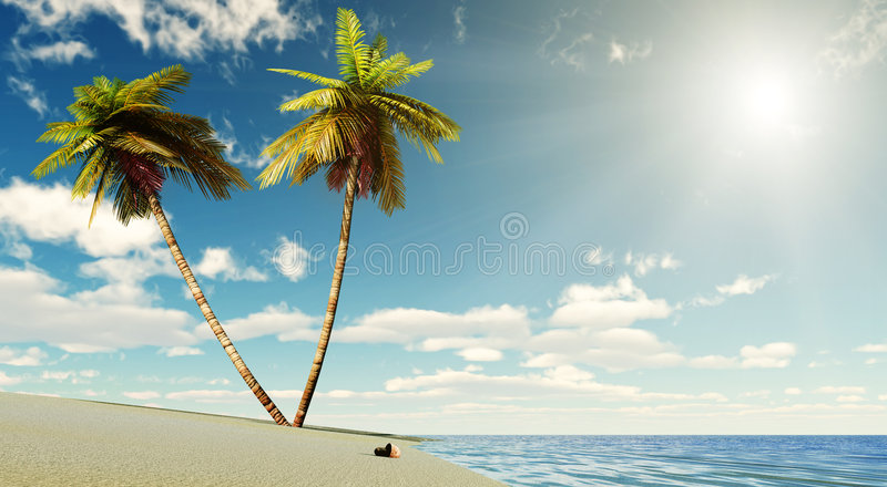 Download Paradise with sun stock illustration. Image of sunny, ocean - 8438657