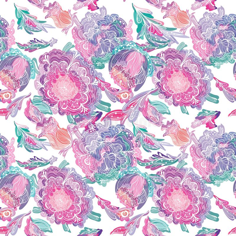 Paradise Tileable Texture with Floral Motif vector illustration