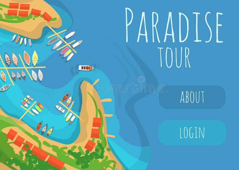 Paradise tour to tropical seacoast web banner. Beach with palms, chaise lounge and yachts in ocean flat vector vector illustration