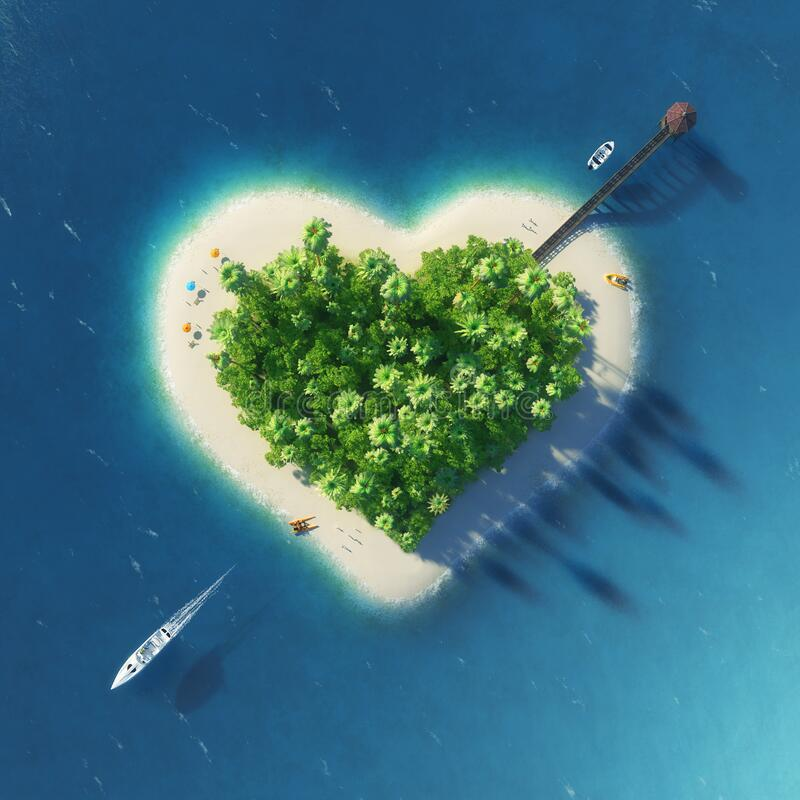 Paradise tropical island in the form of pierced heart. Holidays, travel, relax, eco, nature concept stock illustration