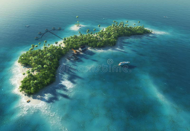 Paradise tropical island in the form of wave stock illustration