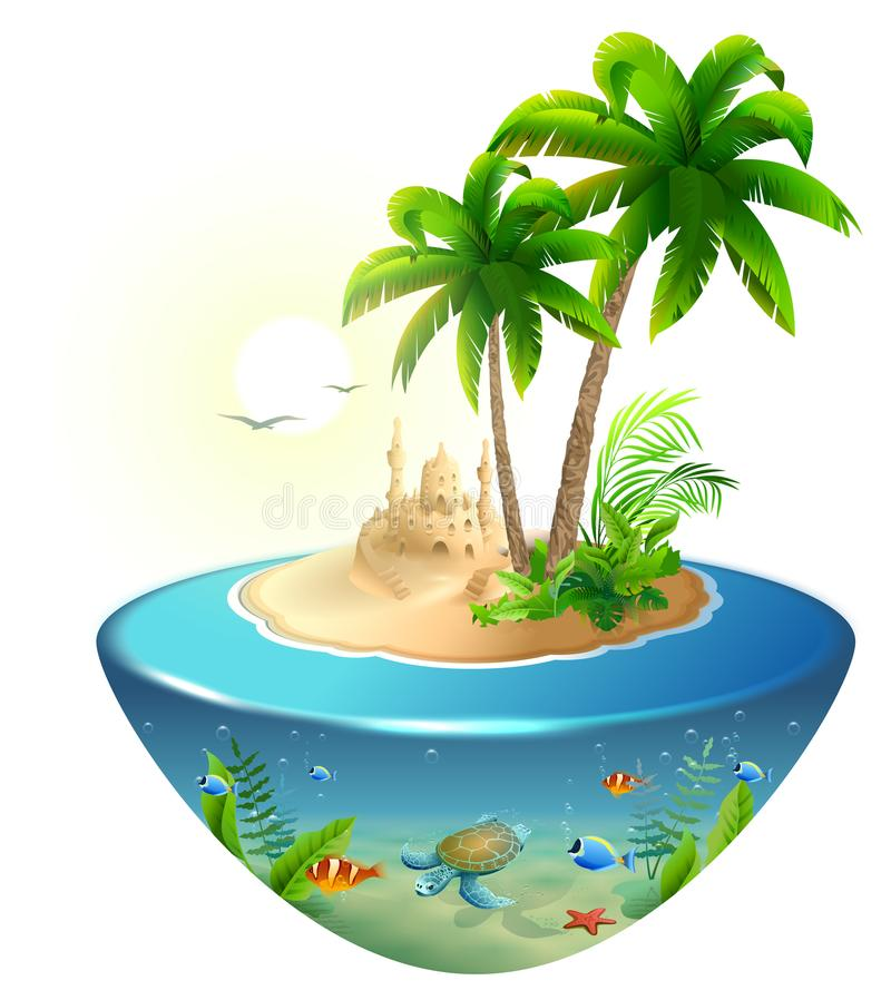 Paradise tropical island in sea. Palm, sand castle and sea turtle. Summer beach vacation holidays vector illustration