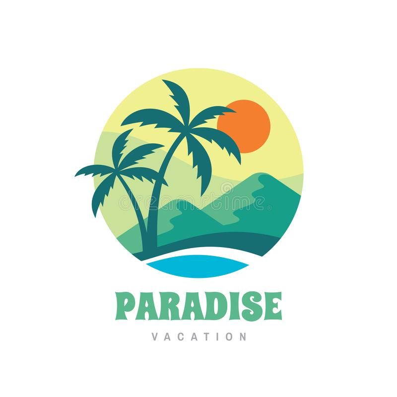 Paradise vacation - concept business logo vector illustration in flat style. Tropical summer holiday creative logo. Palms, island, stock illustration