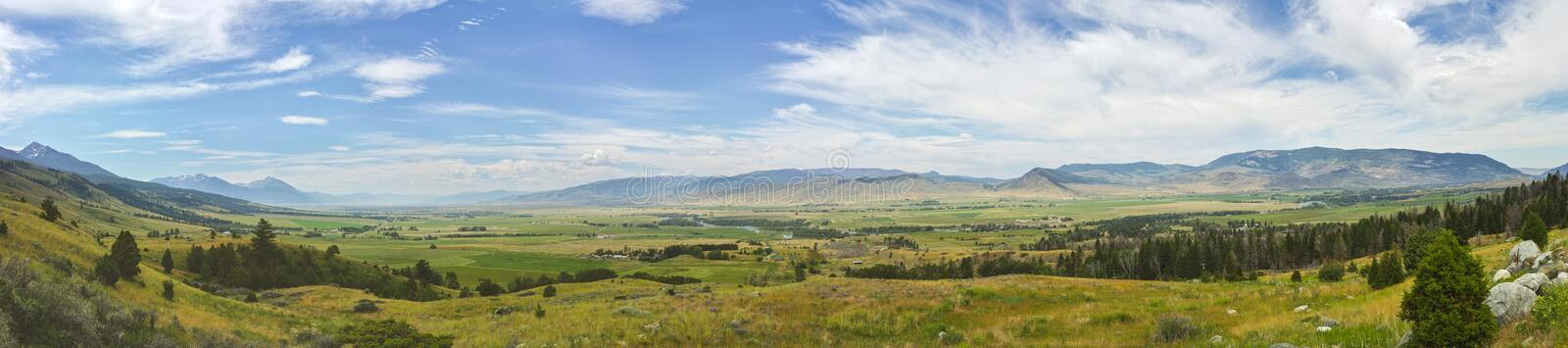 Paradise Valley Panorama. A panoramic view of Montana's Paradise Valley near Yellowstone National Park royalty free stock photography