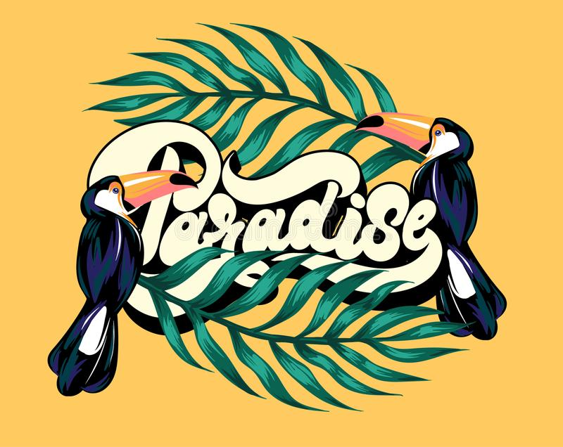 Paradise. Vector poster with hand drawn illustration of toucan and palm leaves. stock illustration
