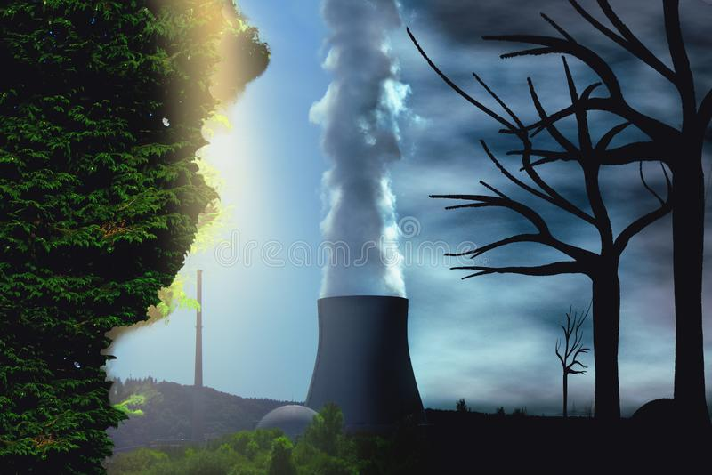 Paradise vs Apocalypse, Environment change and global warming environmental concept as a scene cut in two with half royalty free stock photo