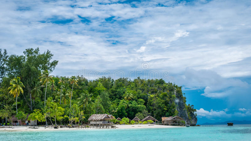 Paradise in Water Hut of Homestay on Kri Island. Raja Ampat, Indonesia, West Papua.  royalty free stock photos