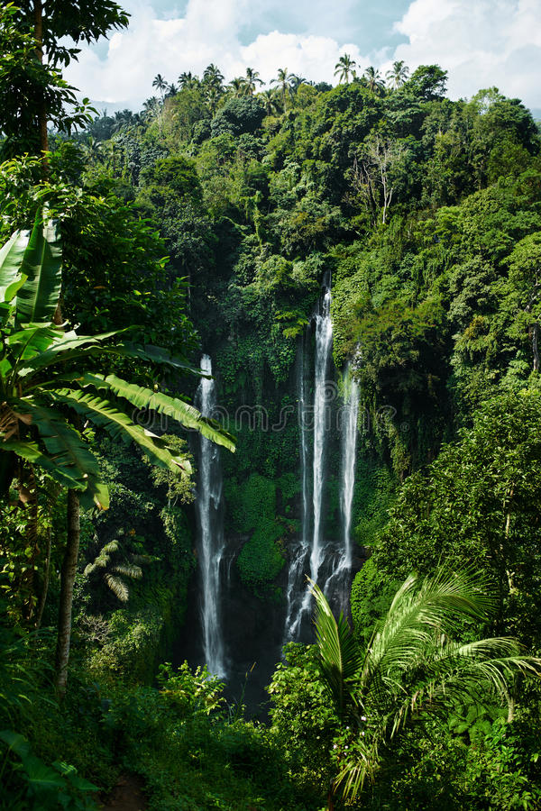 Paradise Waterfall, Bali. Nature Beauty Landscape Background stock photos