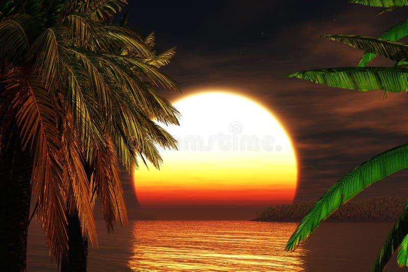 paradiset 3d framför solnedgång tropisk stock illustrationer
