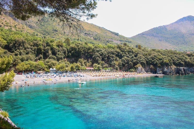 Paradisiac beach of Macarro at Maratea stock image