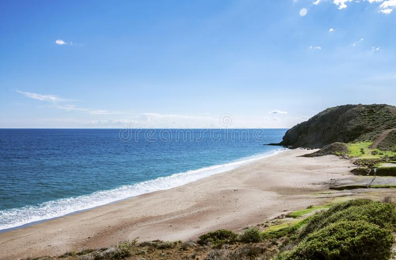 Paradisiacal Beach. Dreamlike beach in Almeria, south of Spain royalty free stock image