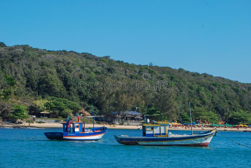 Beautiful beaches and beautiful oceanic coasts with a rich flora and fauna in Buzios Brazil. Paradisiacal beaches, ideal temperature to spend super vacation with royalty free stock images