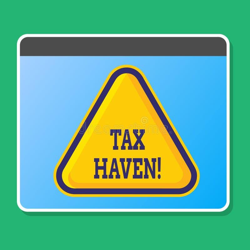 Paradiso fiscale di scrittura del testo della scrittura Concetto che significa paese o area indipendente dove le tasse sono impos royalty illustrazione gratis