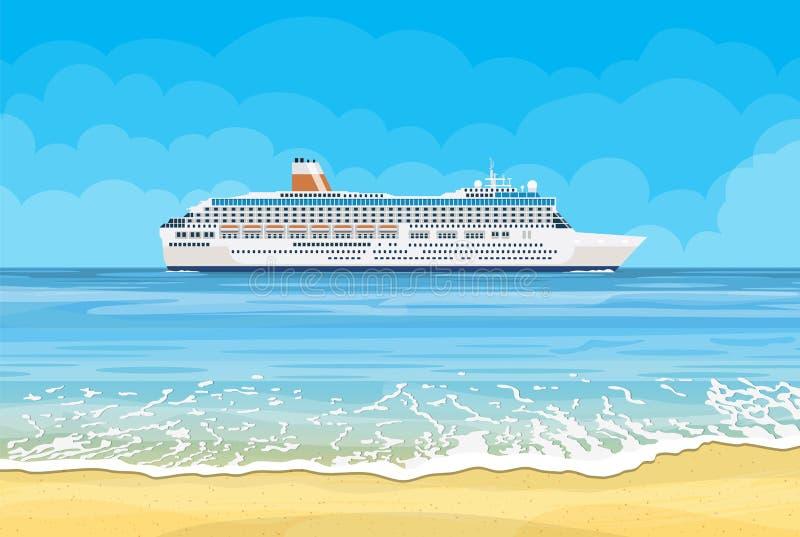 Paradisstrand av havet med kryssningskeppet vektor illustrationer