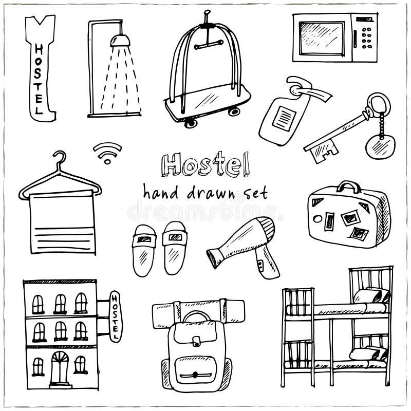 parador Sistema dibujado mano del garabato bosquejos Ejemplo del vector para el producto del diseño y de los paquetes libre illustration