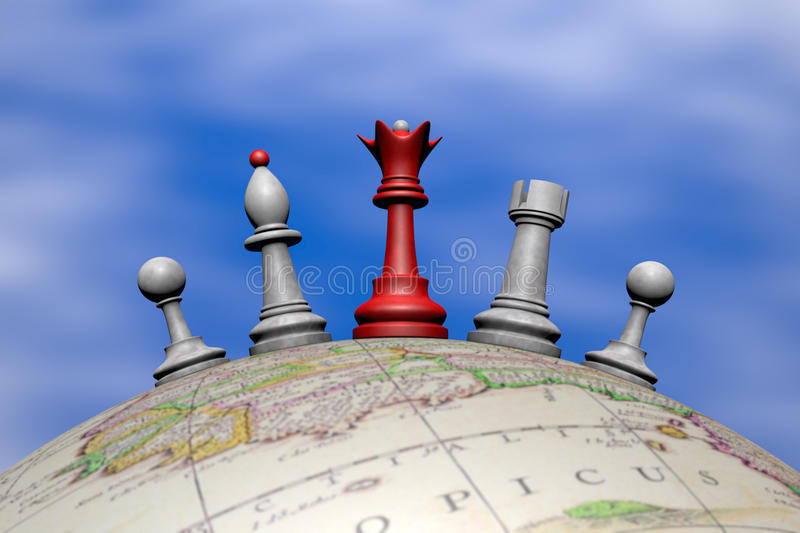 The paradox of power. Symbolic frame (temporary peace). Chess pieces on a globe royalty free illustration