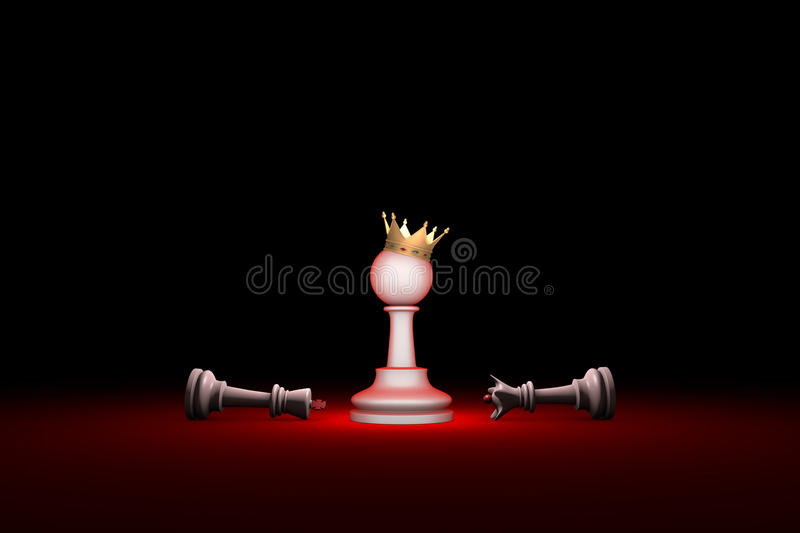 Paradox. Strength and weakness (chess metaphor). 3D render illus. Horizontal chess composition. Available in high-resolution and several sizes to fit the needs stock illustration