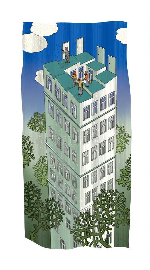 Paradoxical multi-storey building with a broken roof and 4 entrance doors and business people next to it, surrounded by tree royalty free illustration