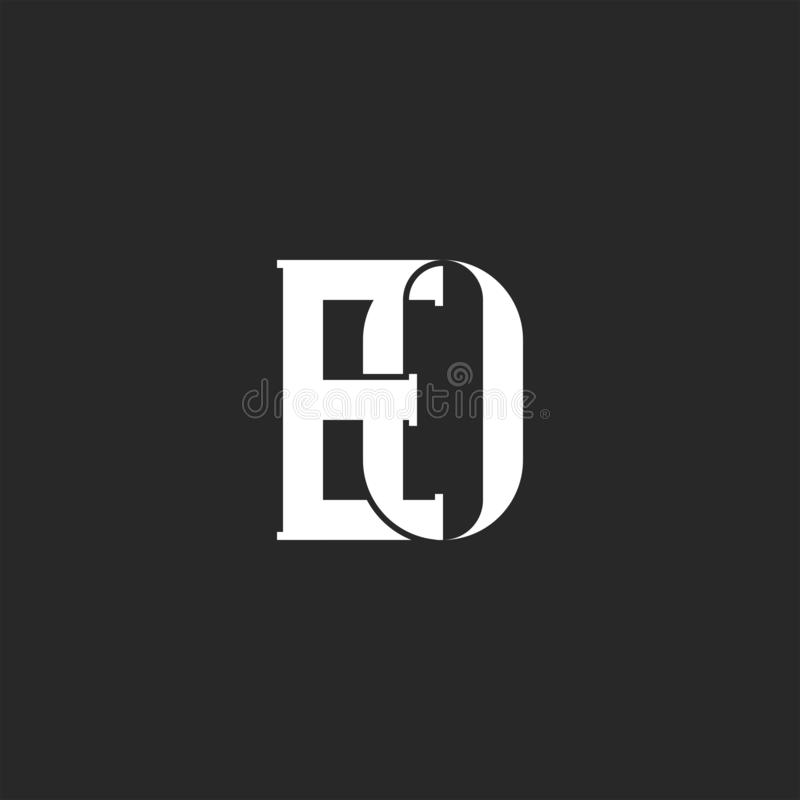 Paraferen EO of van OE creatief embleemmonogram, twee overlappende gewaagde brieven E en o-identiteitsembleem voor adreskaartje vector illustratie