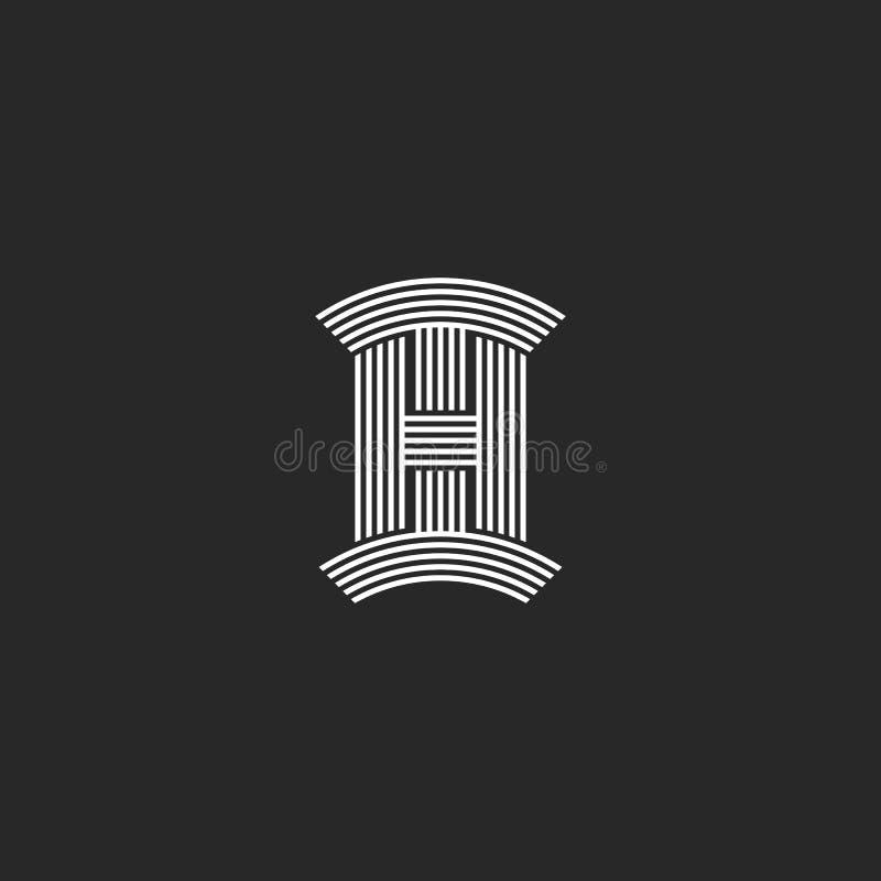 Paraferen HALLO het monogram van het brievenembleem, lineair origineel embleem voor t-shirtdruk, de ontwerpsjabloon van IH logoty royalty-vrije illustratie