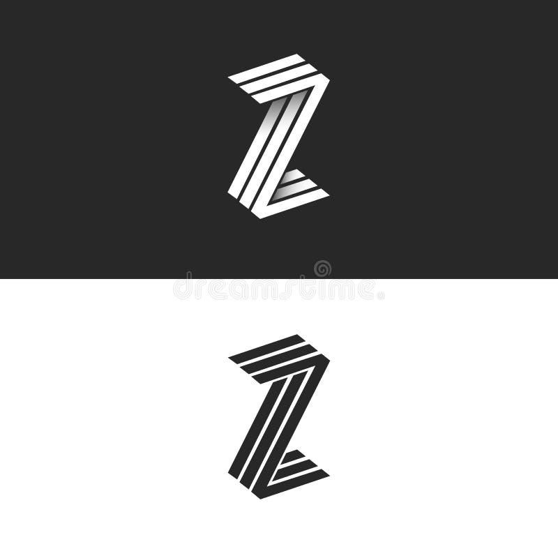 Paraferen het isometrische geometrische de vorm 3D monogram van het brievenz embleem, hipster grafisch ontwerp het zwart-witte em stock illustratie