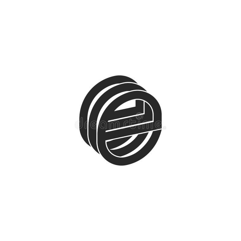 Paraferen het monogram isometrische vorm drie van het brievene embleem brieven eee element in kleine letters, het zwart-witte van vector illustratie
