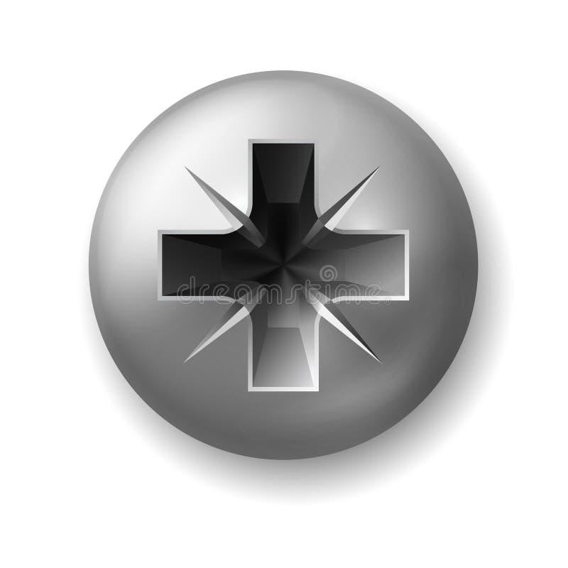 Parafuso de aço para a chave de fenda do crosshead, vista superior ilustração do vetor