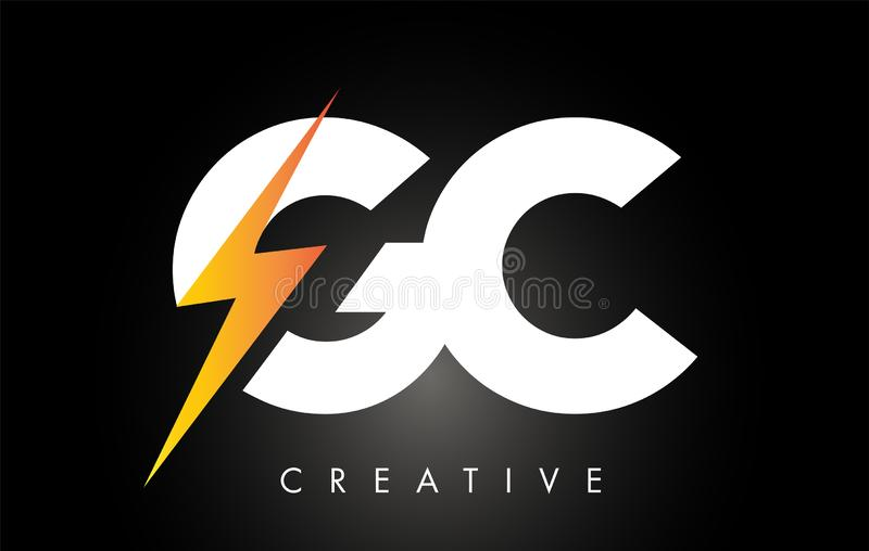 Parafuso de Logo Design With Lighting Thunder da letra do GC Logotipo el?trico da letra do parafuso ilustração royalty free