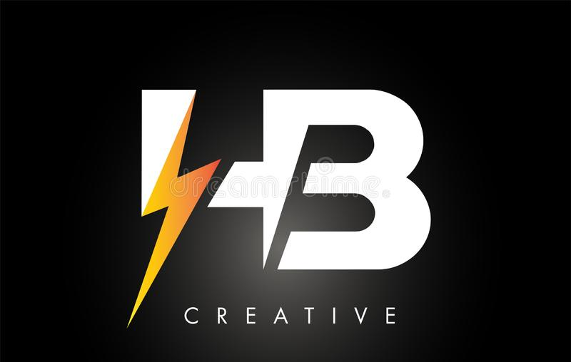 Parafuso de Logo Design With Lighting Thunder da letra do HB Logotipo el?trico da letra do parafuso ilustração stock