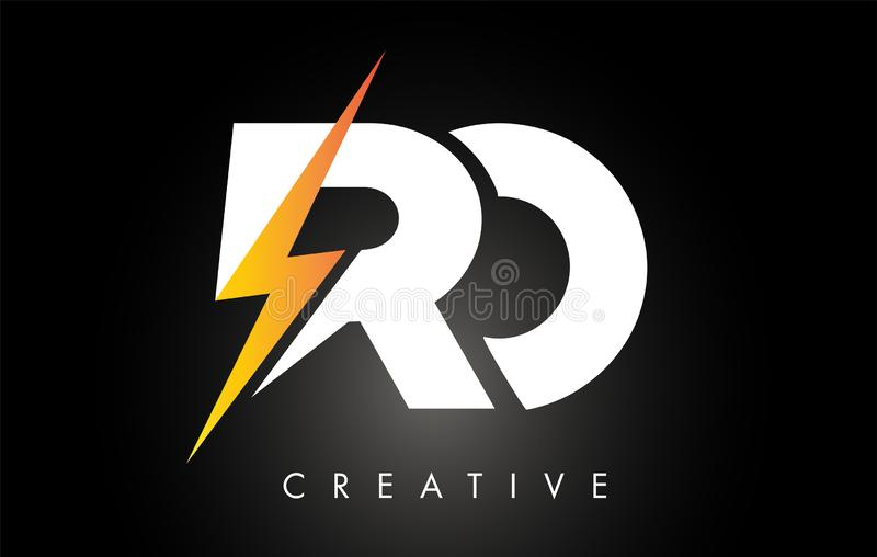 Parafuso de Logo Design With Lighting Thunder da letra do RO Logotipo el?trico da letra do parafuso ilustração royalty free