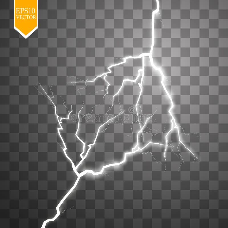 Parafuso de relâmpago bonde do vetor Efeito da energia Alargamento e faíscas claros brilhantes no fundo transparente ilustração stock