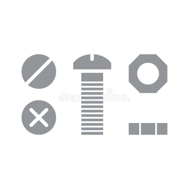 Parafuso e porca de parafuso ilustração stock