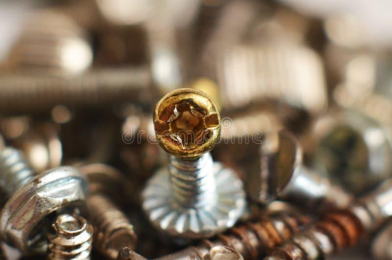 Parafuso feito do ferro e do bronze na forma de uma haste redonda alongada fotografia de stock royalty free