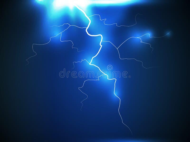 Parafuso ou raio instantâneo do relâmpago na obscuridade - fundo azul da noite Vetor EPS 10 Faísca do trovão da luz elétrica ilustração stock