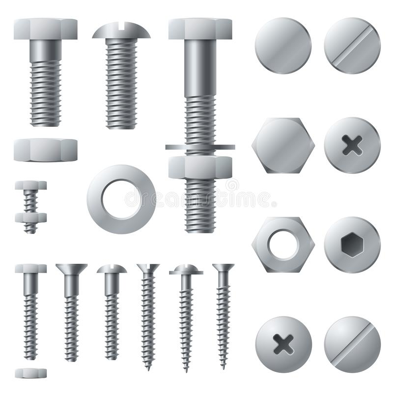 Parafusos de metal Elementos de aço da construção da cabeça do rebite da porca do parafuso do parafuso Parafusos realísticos grup ilustração do vetor
