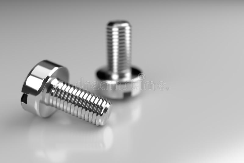 Parafusos de metal no fundo cinzento, rendição 3d foto de stock