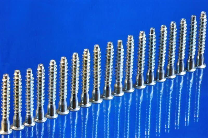 Parafusos para o reparo e a fabricação de equipamento em um fundo azul, para a inscrição O parafuso é um prendedor popular podero fotos de stock royalty free