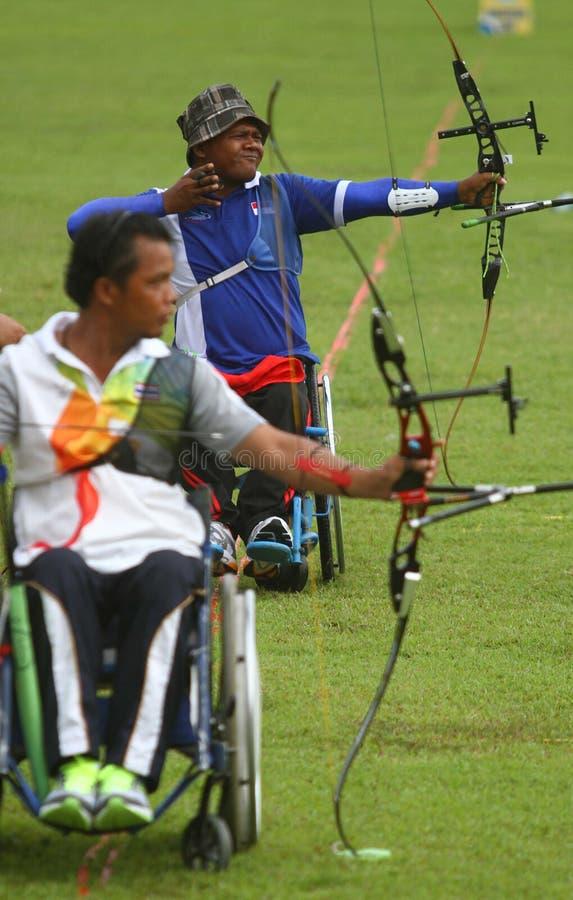 Paragames АСЕАН: archery кресло-коляскы стоковое фото