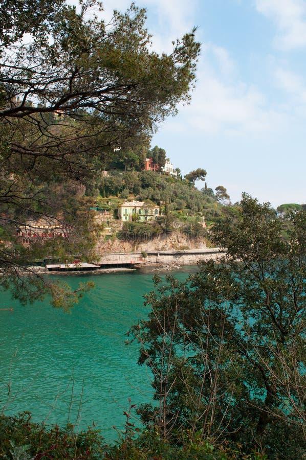 Paraggi,热那亚,利古里亚,意大利,意大利语里维埃拉,欧洲 免版税库存照片