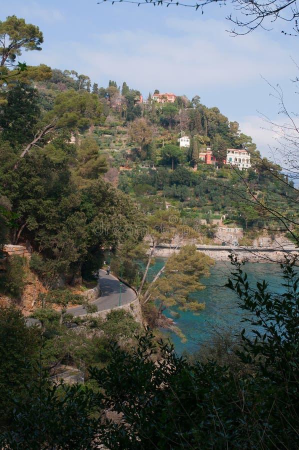 Paraggi,热那亚,利古里亚,意大利,意大利语里维埃拉,欧洲 免版税库存图片