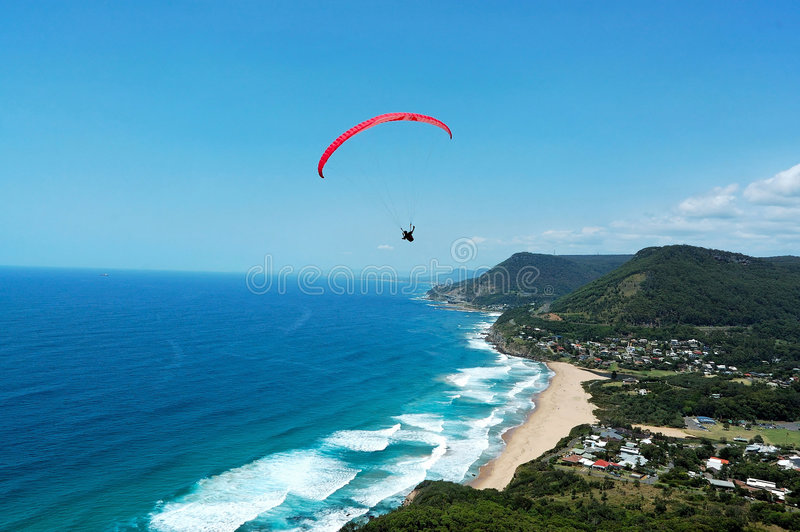 Paraglider and beach. Photoed in the Stanwell park, 1 hour drive from Sydney city stock photos