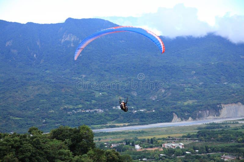Paraglider flying at Taitung Luye Gaotai stock images