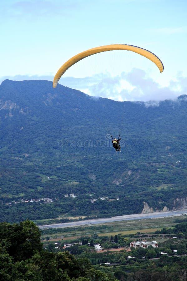 Paraglider flying at Taitung Luye Gaotai stock photo